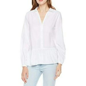 White Peplum Button Up Collared Blouse